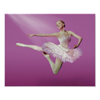 ピンクのバレリーナの跳躍 ポスター
