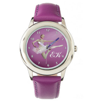 ピンクのバレリーナの跳躍、モノグラム 腕時計