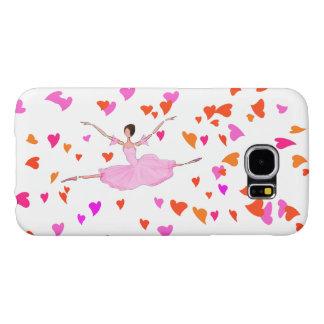 ピンクのバレリーナHAPPILLYの跳躍のバレエの電話カバー SAMSUNG GALAXY S6 ケース