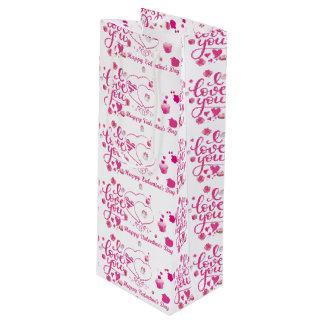 ピンクのバレンタインのギフトバッグ-光沢のあるワイン ワインギフトバッグ