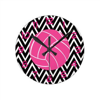 ピンクのバレーボールのシェブロンのジグザグパターンの柱時計 ラウンド壁時計