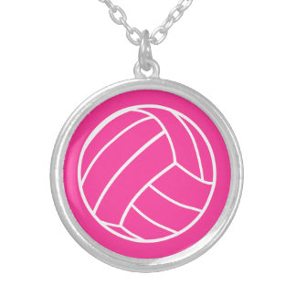 ピンクのバレーボールのネックレス シルバープレートネックレス