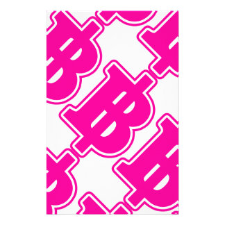 ピンクのバーツの印の฿のタイのお金の通貨の฿ 便箋