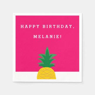 ピンクのパイナップルプールを囲んでのパーティの誕生日 スタンダードカクテルナプキン