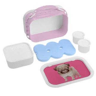 ピンクのパグの小犬のお弁当箱 ランチボックス
