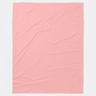 ピンクのパステル調の無地 フリースブランケット