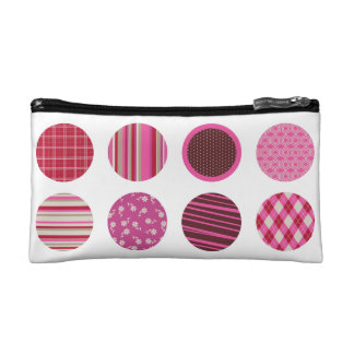 ピンクのパターン(の模様が)あるな円の名前入りな化粧品のバッグ コスメティックバッグ