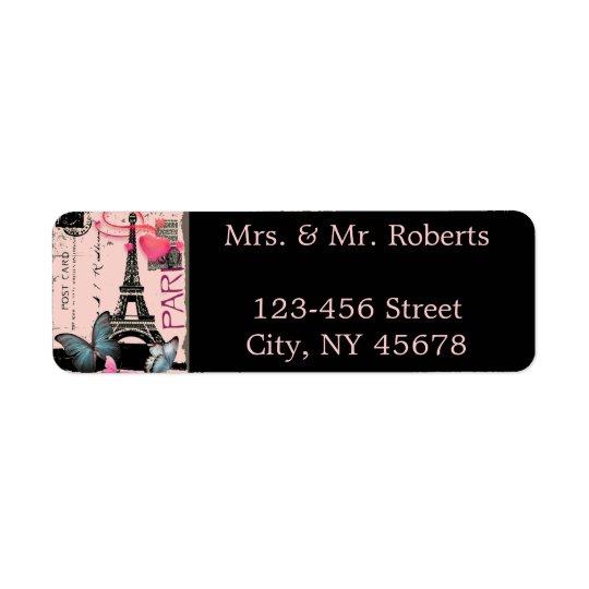 ピンクのパリエッフェル塔の行先の結婚式 返信用宛名ラベル