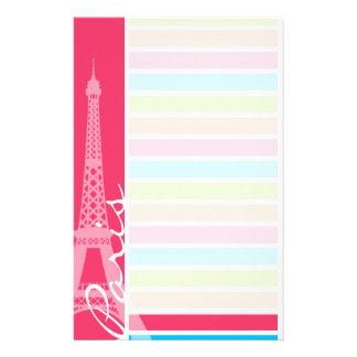 ピンクのパリ; レトロのネオン虹 便箋