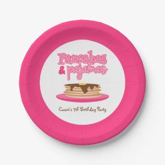 ピンクのパンケーキおよびパジャマの誕生会 ペーパープレート