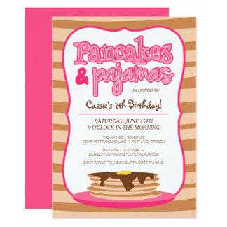 ピンクのパンケーキおよびパジャマの誕生日の招待状 カード