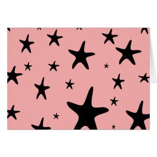 ピンクのヒトデの空白のなカード カード