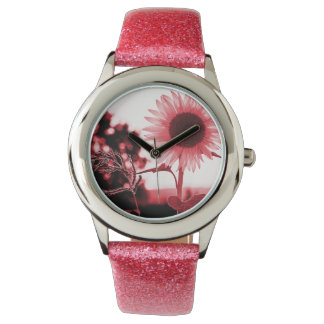 ピンクのヒマワリの腕時計 腕時計