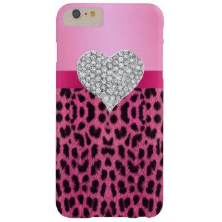 ピンクのヒョウのダイヤモンドのハートのiPhone6ケース Barely There iPhone 6 Plus ケース