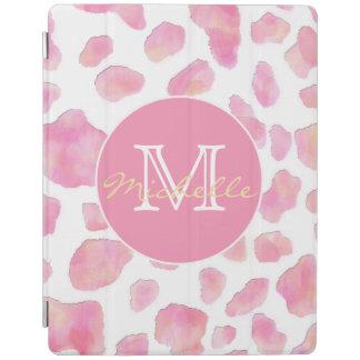 ピンクのヒョウのプリントのモノグラムのiPadの頭が切れるなカバー iPadスマートカバー