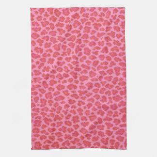 ピンクのヒョウのプリントの台所タオル キッチンタオル
