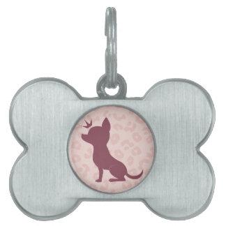 ピンクのヒョウのプリントの威厳のあるなチワワ ペットIDタグ