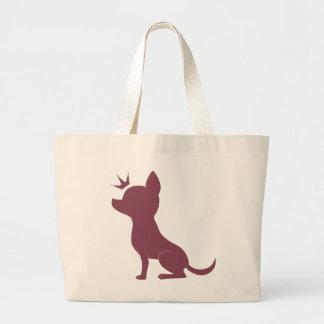 ピンクのヒョウのプリントの威厳のあるなチワワ ラージトートバッグ