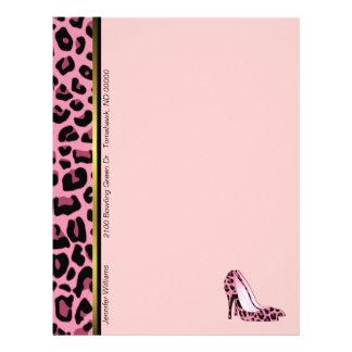 ピンクのヒョウのプリントカスタムなレターヘッド文房具 レターヘッド