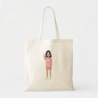 ピンクのファッションの女の子 トートバッグ