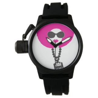 ピンクのファンクのアフリカのひよこの腕時計 腕時計