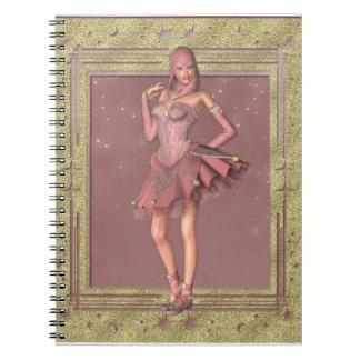 ピンクのファンタジーのこっけい者のノートで大切なKRW ノートブック