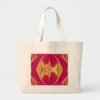 ピンクのファンタジーのフラクタルのバッグ ラージトートバッグ