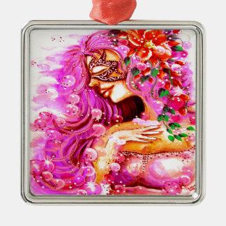 ピンクのファンタジーの女の子 シルバーカラー正方形オーナメント