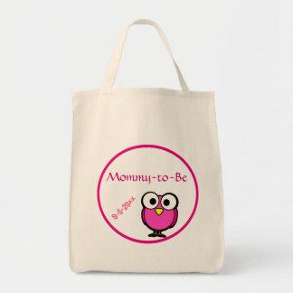 ピンクのフクロウのベビーシャワー トートバッグ