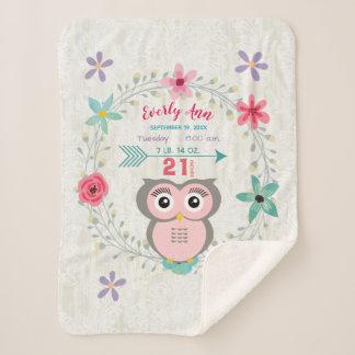 ピンクのフクロウの女の赤ちゃんStatsの水彩画のリース シェルパブランケット