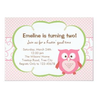 ピンクのフクロウの招待状(誕生日/ベビーシャワー) 12.7 X 17.8 インビテーションカード