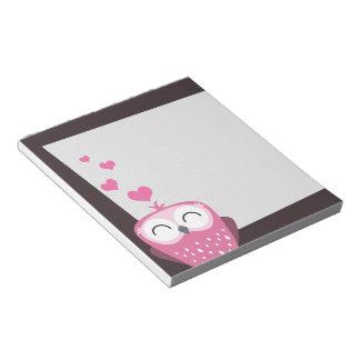 ピンクのフクロウ及び愛ハートのメモ帳 ノートパッド