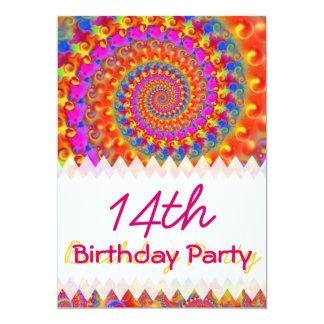 ピンクのフラクタルの誕生日 カード
