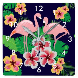 ピンクのフラミンゴおよび熱帯花の柱時計 スクエア壁時計
