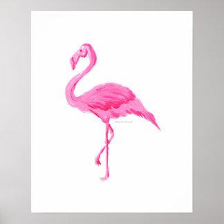 ピンクのフラミンゴのおもしろいのBeachy夏のファインアートのプリント ポスター