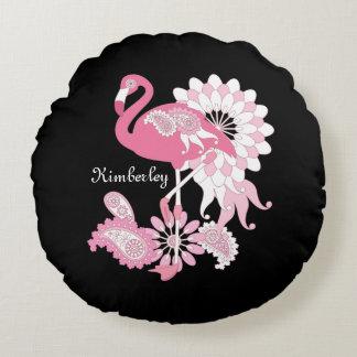 ピンクのフラミンゴのかわいくエレガントで名前入りな黒 ラウンドクッション