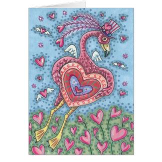 ピンクのフラミンゴのキューピッドのバレンタインのメッセージカードは*Customize カード