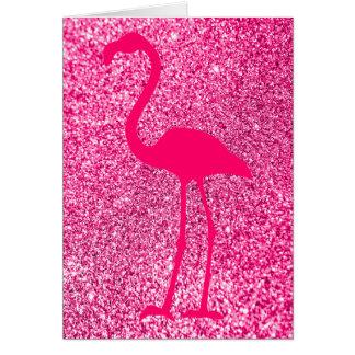 ピンクのフラミンゴのグリッターのハッピーバースデー カード
