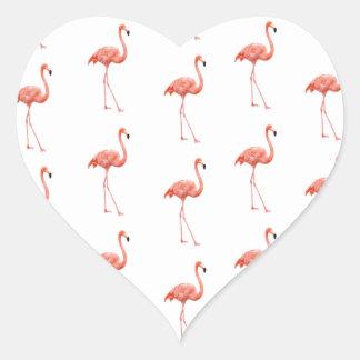 ピンクのフラミンゴのシンプルパターン ハート形シール・ステッカー