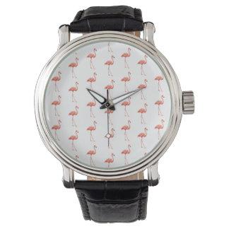 ピンクのフラミンゴのシンプルパターン 腕時計