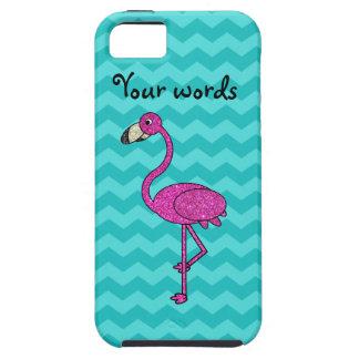 ピンクのフラミンゴのターコイズのシェブロン iPhone 5 ケース