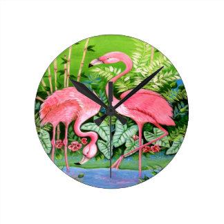 ピンクのフラミンゴのデザイン ラウンド壁時計