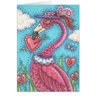 ピンクのフラミンゴのバレンタインのメッセージカードは*Customize カード