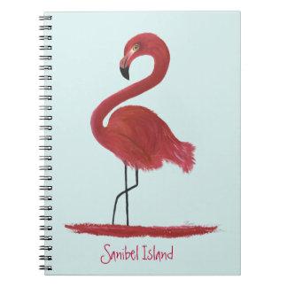 ピンクのフラミンゴのファインアートの絵画- Sanibelの島 ノートブック