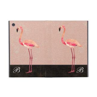 ピンクのフラミンゴのモノグラムのiPadの場合 iPad Mini ケース