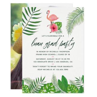 ピンクのフラミンゴの写真の水彩画のルアウ(ハワイ式宴会)の卒業 カード