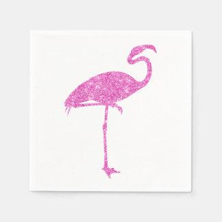 ピンクのフラミンゴの模造のなグリッターのフラミンゴの熱帯鳥 スタンダードカクテルナプキン