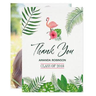 ピンクのフラミンゴの水彩画のルアウ(ハワイ式宴会)の卒業は感謝していしています カード
