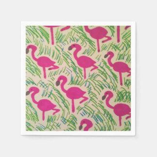 ピンクのフラミンゴの熱帯パターン スタンダードカクテルナプキン