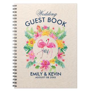 ピンクのフラミンゴの熱帯リースの結婚式のゲストブック スプリングノート